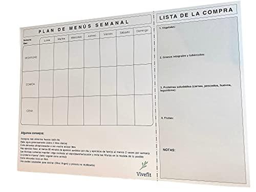 Vivefit Plan de Menús Semanal Tamaño A3. Calendario Organizador de Cocina para Planning de Comidas Saludables. Incluye Lista de la Compra e Imanes para Nevera
