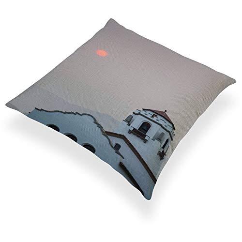 DKE&YMQ Funda de almohada de lino de algodn ligero, individual, fenmeno atmosfrico techo, lugares santos lugares de culto