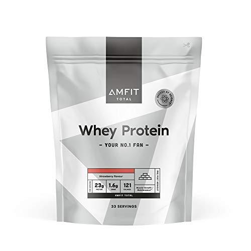 Marchio Amazon - Amfit Nutrition Proteine del Siero di Latte in Polvere 1kg - Fragola (precedentemente marchio PBN)