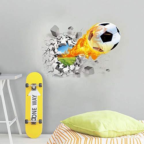 3D Fußball Wandaufkleber Abnehmbaren Wandaufkleber Durchbrechen Die Mauer Herausnehmbar Wandbild Abziehbilder Wandsticker Dekoration für Wohnzimmer Schlafzimmer Kinderzimmer (Fußball)