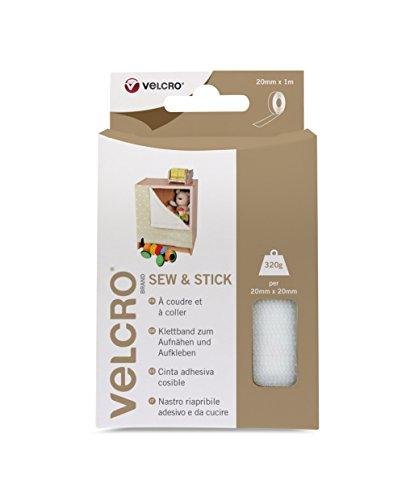Velcro VEL-EC60265 Nastro Adesivo Multiuso 20 mm x 1m, Colore Bianco