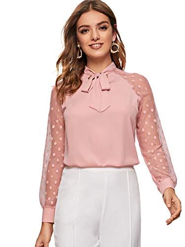 DIDK Damen Blusen Stehkragen Chiffonbluse Oberteil Tunika Netz Ärmel mit Schleife Langarm Bluse Shirts Elegant Tops Basic Hemd Pink S