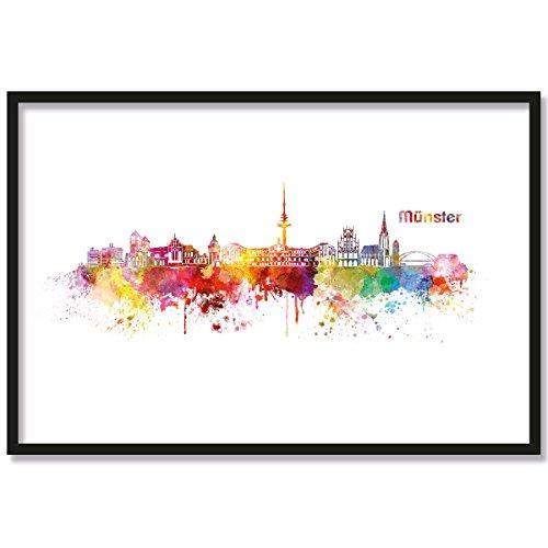 JUNIWORDS Poster mit/ohne Holzrahmen, Wähle ein Motiv, Aquarell Skyline Münster, Wähle eine Größe, 21 x 30 cm (S) mit Rahmen in Weiß