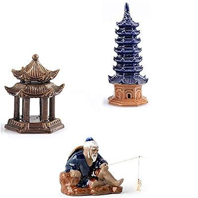 3 Pcs Ceramic Buddhist Pagoda Aquarium Decor, Weighted Pavilion Aquarium Ornament Fishing Man Fish Tank Decoration Human Landscape Aquarium Decoration Accessories Desktop Decor by ZH