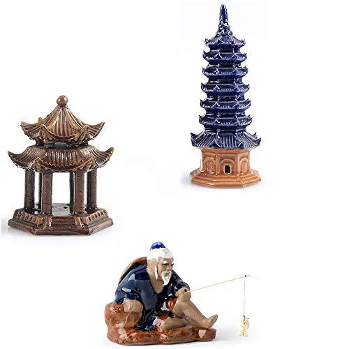 3 Stks Keramische Boeddhistische Pagode Aquarium Decor, Gewogen Paviljoen Aquarium Ornament Vissen Man Vistank Decoratie Menselijk Landschap Aquarium Decoratie Accessoires Desktop Decor