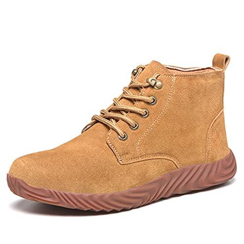 fayengan Zapatos de acero para hombre y mujer, ligeros, antideslizantes, resistentes a pinchazos, zapatos de seguridad destructibles, puntera de acero (color: marrón, tamaño: 42)