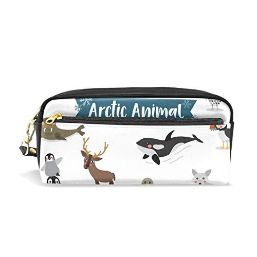Potlood Cases voor meisjes en jongens, Arctic Animals Seal Fox Penguin Moose Bear Pen Bag briefpapier Make-up zak portemonnee