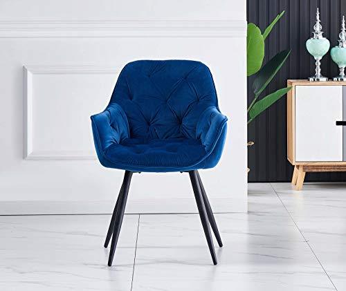 Greneric 1X Sessel Esszimmerstuhl aus Stoff (Samt) Wohnzimmerstuhl Farbauswahl Retro Design Armlehnstuhl Stuhl mit Rückenlehne Sessel Metallbeine Schwarz (Blau, 1)