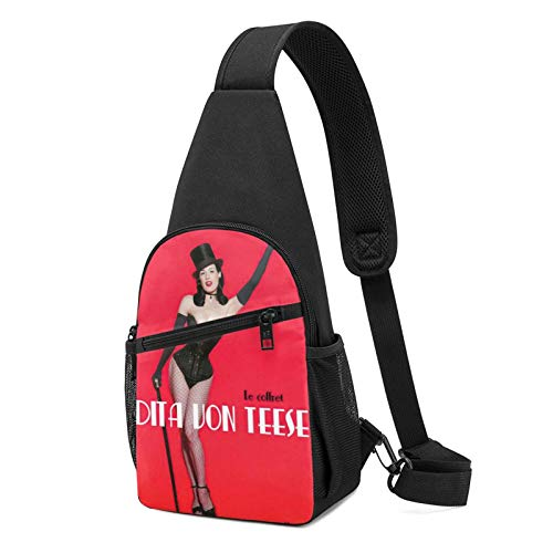 Sling Bag für Herren Anti-Diebstahl Schulterrucksack Leichte Crossbody Outdoor & Gym, Rot - Dita Von Teese Schwarz - Größe: Einheitsgröße