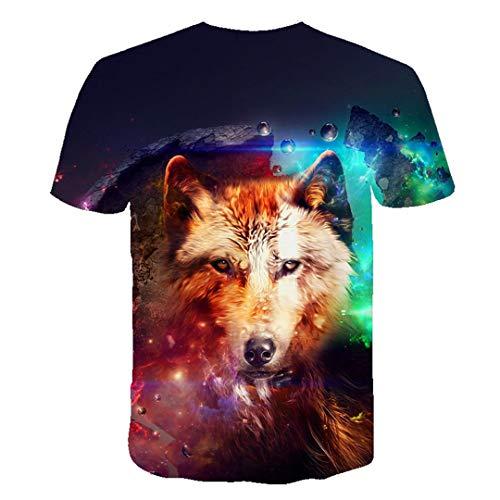 Summer Men T Shirt O Cuello Manga Corta Divertida Ropa de Animal Men 3D Lobo Imprimir Casual Camiseta TXA600 XXXL