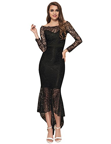 ohyeah Women Solid Formal Lace Maxi Dress Long Sleeve Boat Neck Elegant Party Gown Mermaid Dress (XXXX-Large=US 14-16, Black)