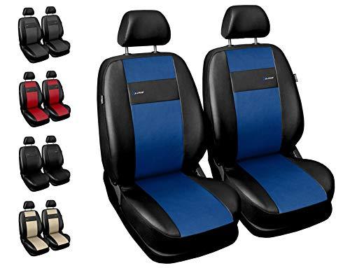 Carpendo Sitzbezüge Auto Vordersitze Autositzbezüge Schonbezüge Vorne - Seitenairbag geeignet - X-Line - Blau