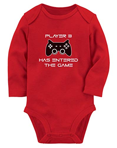 Body de manga comprida para bebê jogador 3 Has Entered The Game – Presente para terceiro filho gamer, Vermelho, 6 meses