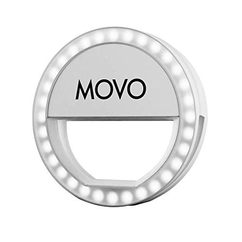 Movo PRL-1 Clip-on Mobile Selfie Ring Light with 36 Ultra-Bright LED's, 3 Output Levels, Compatible with iPhone, iPad, Android Smartphones, Tablets and Laptops