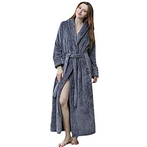Ling Fengfeiyang Suave Comodo Albornoz Baño,Homewear Bata Baño,Bata de Noche térmica de Franela, Albornoz extralargo Grueso-h_M