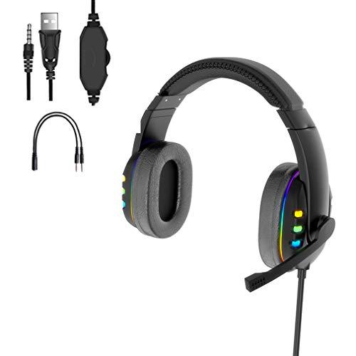 Auriculares para Juegos para PS4 Xbox One PC Auriculares con Cancelación De Ruido, con Sonido Envolvente Estéreo 7.1, Luz LED, Orejeras De Memoria Suave