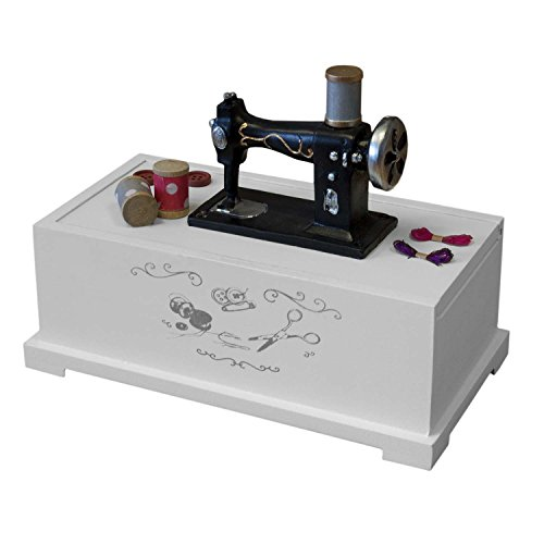 Costurero de color blanco 22 x 17 x 12 cm con tapa deslizante para utensilios de costura