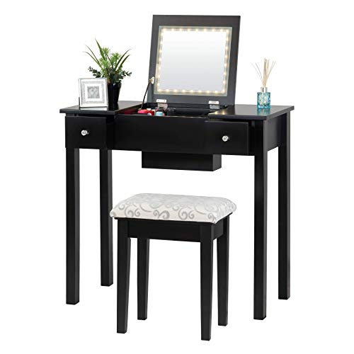 Fineboard Dressing Mirror LED Lights and Stool Makeup Vanity Table, Brown, Black