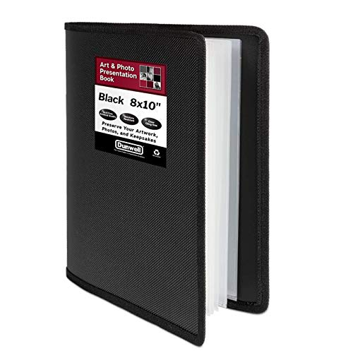Dunwell 8x10 Portfolio Folder for Artwork - (Black, 1 Pack), 24 Pockets Display 48 Pages, Photography Presentation Binder with Clear Protector Sleeves, Art Portfolio for Kids, Presentation Book