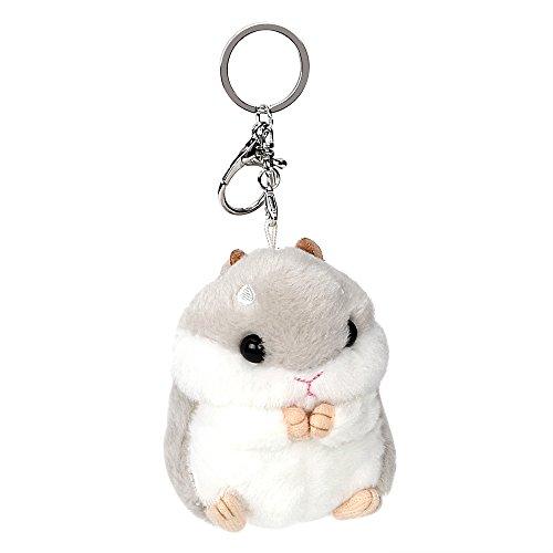 Autoinnenausstattung Autoschlüssel Ring schöne Schlüsselanhänger Dekoration niedlichen Hamster Schlüsselbund Plüschtiere Tier Puppen Schlüsselanhänger (Grau)