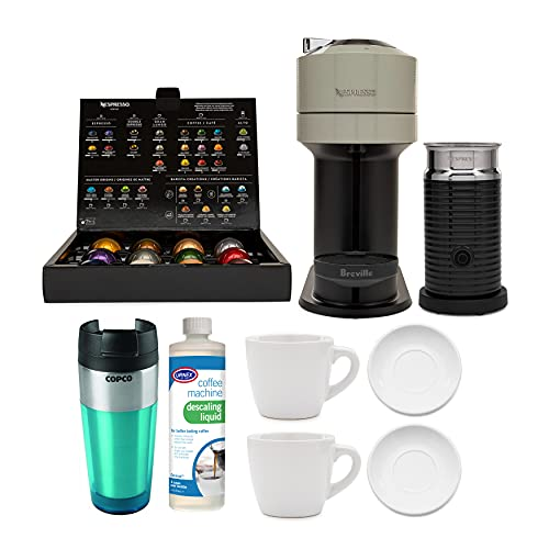 Nespresso Vertuo Next Coffee and Espresso Machine (Light Gray) with 2 Cup and Saucer Sets, Descaling Liquid and Tumbler Bundle (5 Items)