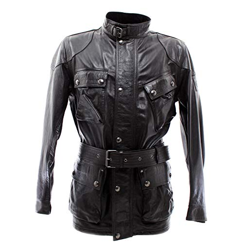 Belstaff Herren Jacken 71050068 Panther Black Leder Schwarz Vintage Made Italy