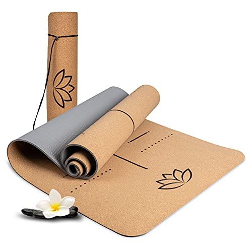 Wellax Yoga Mat Cork - Antiscivolo, sostenibile e non inquinante - Tappetino da yoga in sughero spesso 183x66x0,6cm - Cinghia da trasporto e borsa - Tappetino professionale per yoga, pilates, fitness