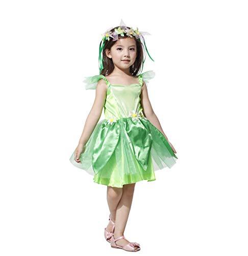 VNIUBI Fata Fiore Per Bambini, Costumi Fata Dei Boschi Ragazza Principessa Manicotto Manica Festa Fancy Dress,L