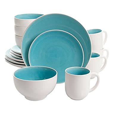 Gibson Elite Serenity 16 Piece Dinnerware Set, Turquoise/White
