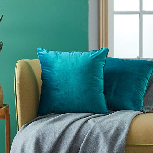 Topfinel Juego 2 Hogar cojín Terciopelo Decorativa Almohadas Fundas Color sólido para Sala de Estar sofás 45x45cm Turquesa