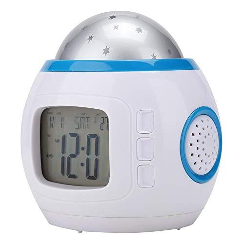 Dancal Kids Music LED Star Sky Projection Lamp Digital Alarm Clock Calendar Thermometer