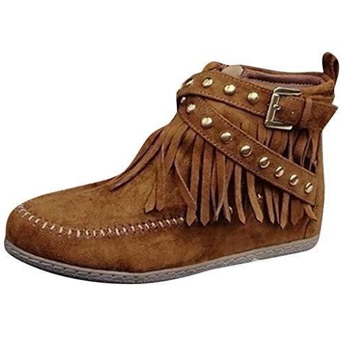 Stiefeletten Fransen Damen Flache Stiefel Wildleder Keilabsatz Stiefel Klassische Retro Ankle Boots Winter Warm Freizeitschuhe ÜBerrößEn Schwarz Gelb