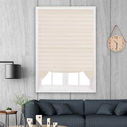Hunter Mason Plissee Tragbares Rollo mit Kleben Ohne Bohren Lichtschutz Jalousie Zuschneidbar für Fenster,Beige,110x182cm 2 Pack