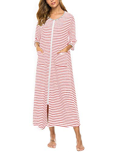 Womens Zip Front Robes for Women House Dress Cotton Nightgown Long Soft Housecoat Half Sleeve Loungwear Full Length Sleepwear Duster Coat