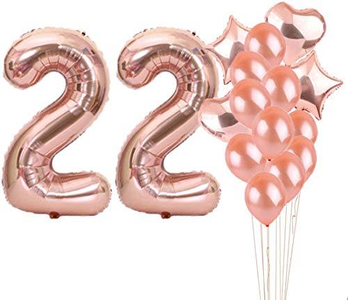 LZGQXF Suministros de fiesta de 22 cumpleaños, globos de 22 cumpleaños, globos de mylar número 22, decoración de globos de látex, gran regalo de cumpleaños para niñas, accesorios de fotos