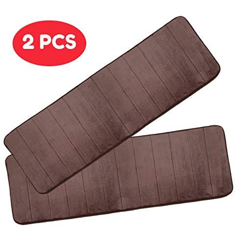 Macro Giant Foam badmat, bruin kleur, set van 2, 47 x 16 x 0.6 inch, badkamer non-slip badtapijt