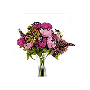 1 Bouquet 13 Heads Rose Pink Peony Artificial Flowers 48Cm Bride Home Decoration Fake Flowers-Purple