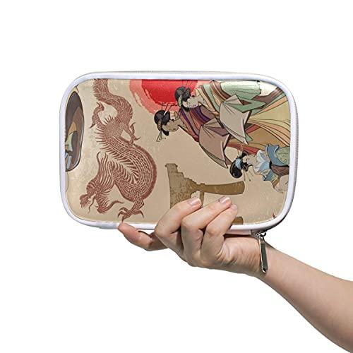 Estuche de lápiz de dragón chino de las mujeres japonesas con cremallera bolsa de lápiz de gran capacidad para bolígrafo de maquillaje