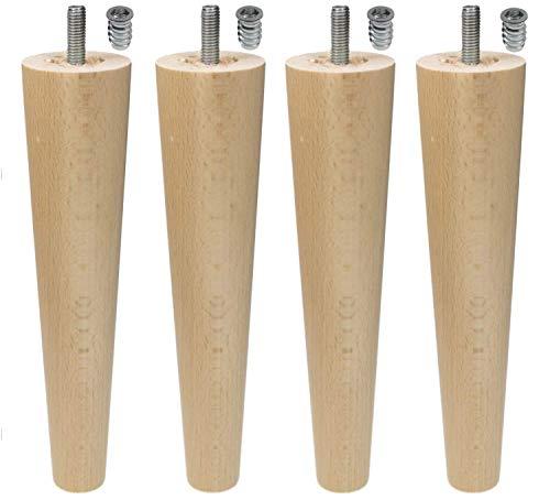 Moebelfusse Holz 4 x Ø45-25mm / 200mm Möbelfüße Kugelfüße Holz Möbelfuß Schrankfüße Schrankfuß BUCHEN HOLZ