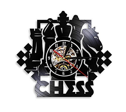 Vinilo Pared Reloj Competencia Internacional Reloj Colgante de Vinilo Creativo Piezas de ajedrez Club Reloj de Disco de Vinilo Decoración del hogar Art-NO_LED