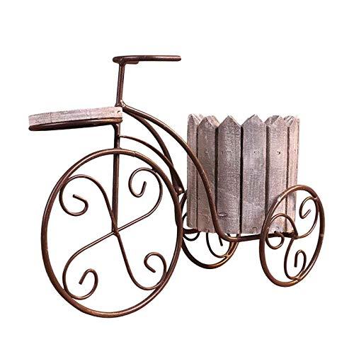 LOVIVER Vaso da Fiori da Tavolo in Ferro per Biciclette Vaso da Fiori Porta Piante Artigianato Decorazione Balcone Ornamento, Adatto per Entrambi - Grigio