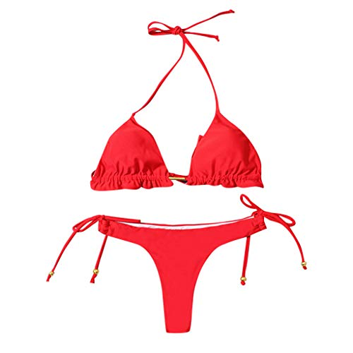 Fenverk Damen Push Up Gepolsterter Bikini-Set Blatt Drucken Badehose Bademode Badeanzug,Damen Sonnenblume Druck Spaghetti-Träger Lace-up Gepolstert Bikini Set(C#rot,M)
