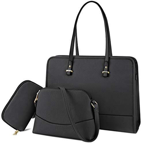 Bolsos Mujer Bolso Tote Bolsos de Mano Grande Bolso Shopper Universidad Cuero PU Bolso Bandolera Bolsos Billetera 3pcs Set Negro