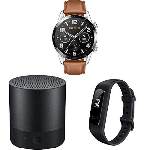 HUAWEI Watch GT 2 Smartwatch (46mm, OLED Touch-Display, Fitness Uhr mit Herzfrequenz-Messung) Pebble Brown + Bluetooth MiniSpeaker CM510, Schwarz + Band 3e Fitness Armband