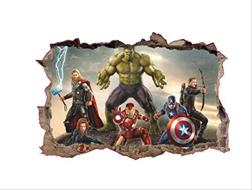 Etiqueta De La Pared, Los Vengadores Anime Tatuajes De Pared Rotos Superhéroes Iron Man Hulk Pegatinas De Vinilo 3D Niños Decoración Del Dormitorio Marvel Poster 70X50Cm