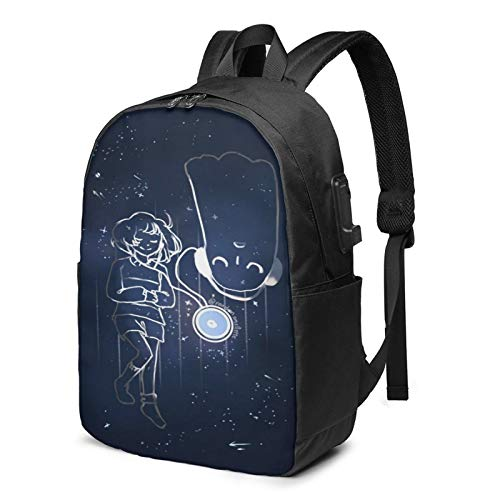 Multi-Functional Travel Backpack,17 Inch Under-tale Shoulder Daypack Rucksack with USB Charging Port & Earphone Hole
