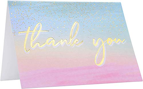 【60 Pack】Thank You Cards -Elegant Watercolor Thank Cards with Gold Sprinkles Background & Gold Foil Letters -Baby Shower, Business, Wedding Thank You Cards- With 60 Envelopes- 3.75 x 5 inch (60 Pack)