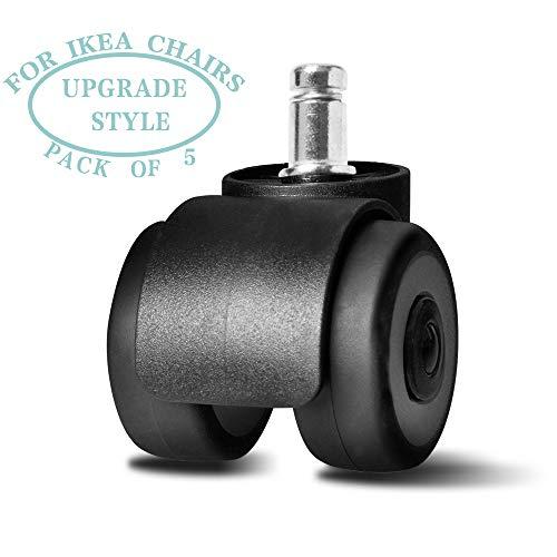 Juego de 5 ruedas giratorias de repuesto para sillas de oficina o hogar, color negro con blanco 2