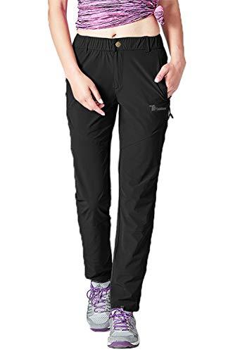 TBMPOY Women's Lightweight Hiking Pants Quick Dry Outdoor Camping Fishing Zipper Pockets Black M