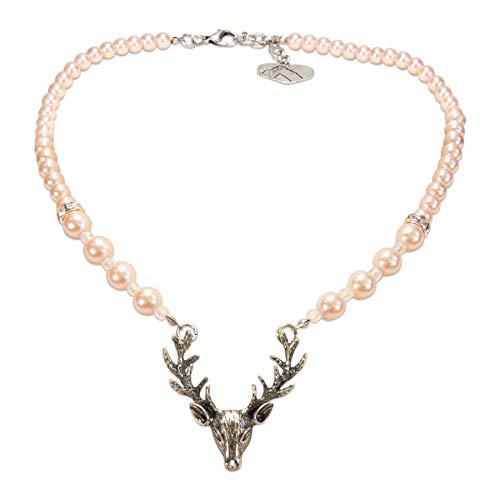Alpenflüstern Perlen-Trachtenkette Hirsch - Damen-Trachtenschmuck mit Hirsch-Geweih, Elegante Dirndlkette rosa-rosé DHK203